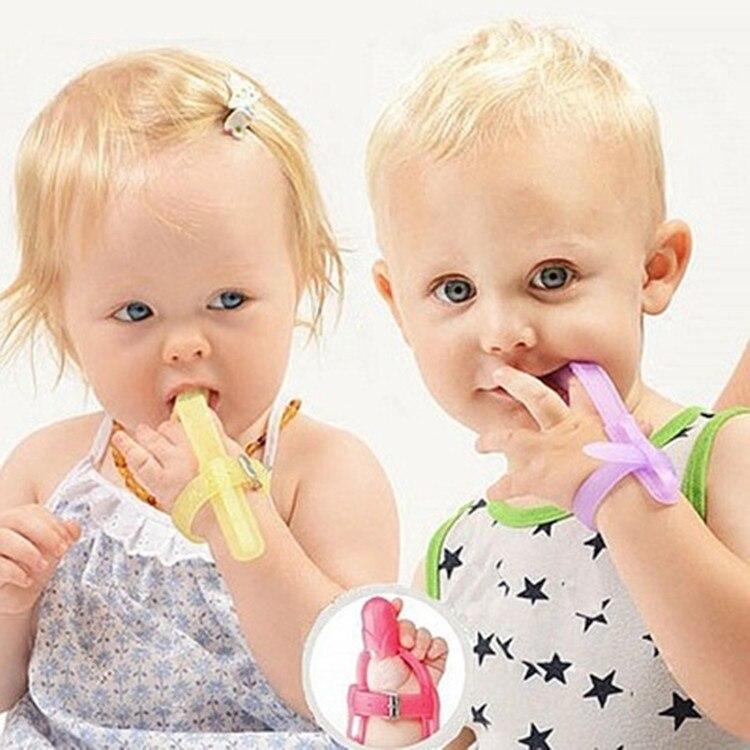 3 cores de silicone nova chegada não tóxico bebê crianças criança dedo guarda parar polegar sugando banda pulso