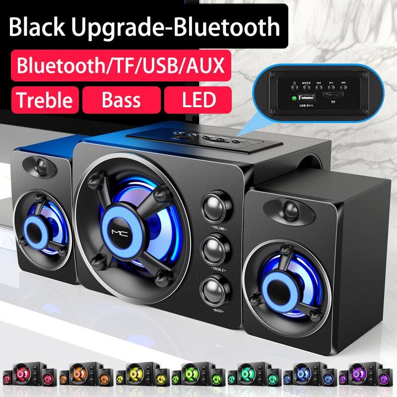 LED الكمبيوتر الجمع بين مكبرات الصوت 2021 AUX USB السلكية سماعة لاسلكية تعمل بالبلوتوث نظام الصوت المسرح المنزلي الصوت المحيطي لتلفزيون الكمبيوتر