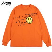 NAGRI Smiley Face Letter Printing Long Sleeve T-Shirt Graphic Rap Music Hip Hop Crew Neck Streetwear Retro Tee Orange
