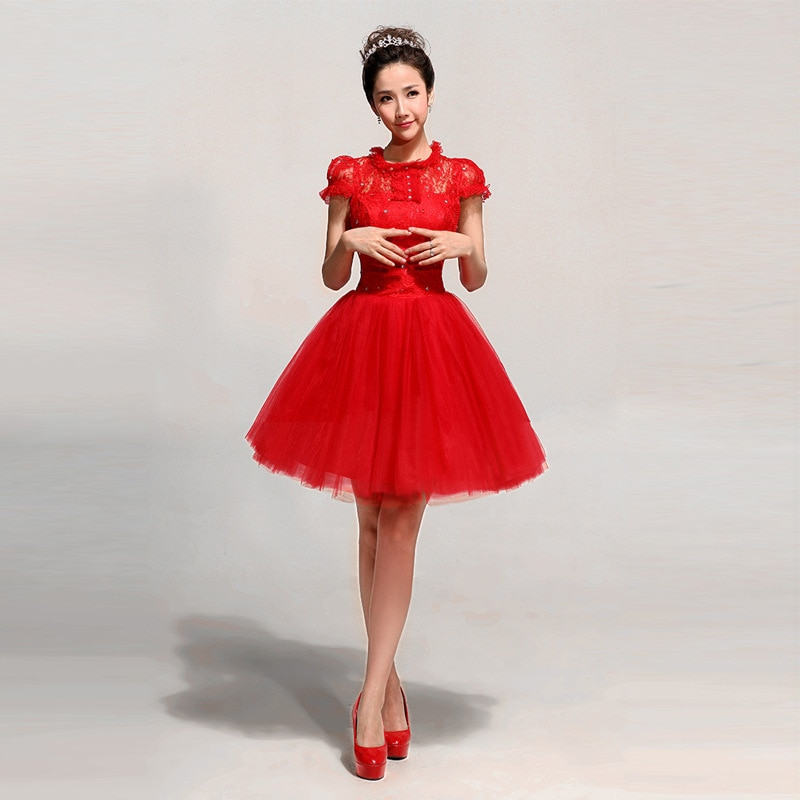 Special Clearance Dress for Toast Bride 2019 New Dress Women's Banquet Host Short Red Studio Store Get Goods