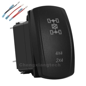 4X4 2x4 Green Led 12v/24v Toggle Rocker Push Switch 5 Pins SPST ON/OFF For Car Boat Truck Waterproof + Jumper Wires Set