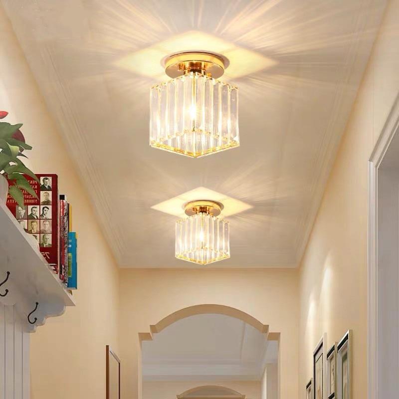 Nórdicos creativo balcón pasillo lámpara de techo de cristal de lujo de dormitorio Comedor Cocina luces de techo Simple estudio baño luces