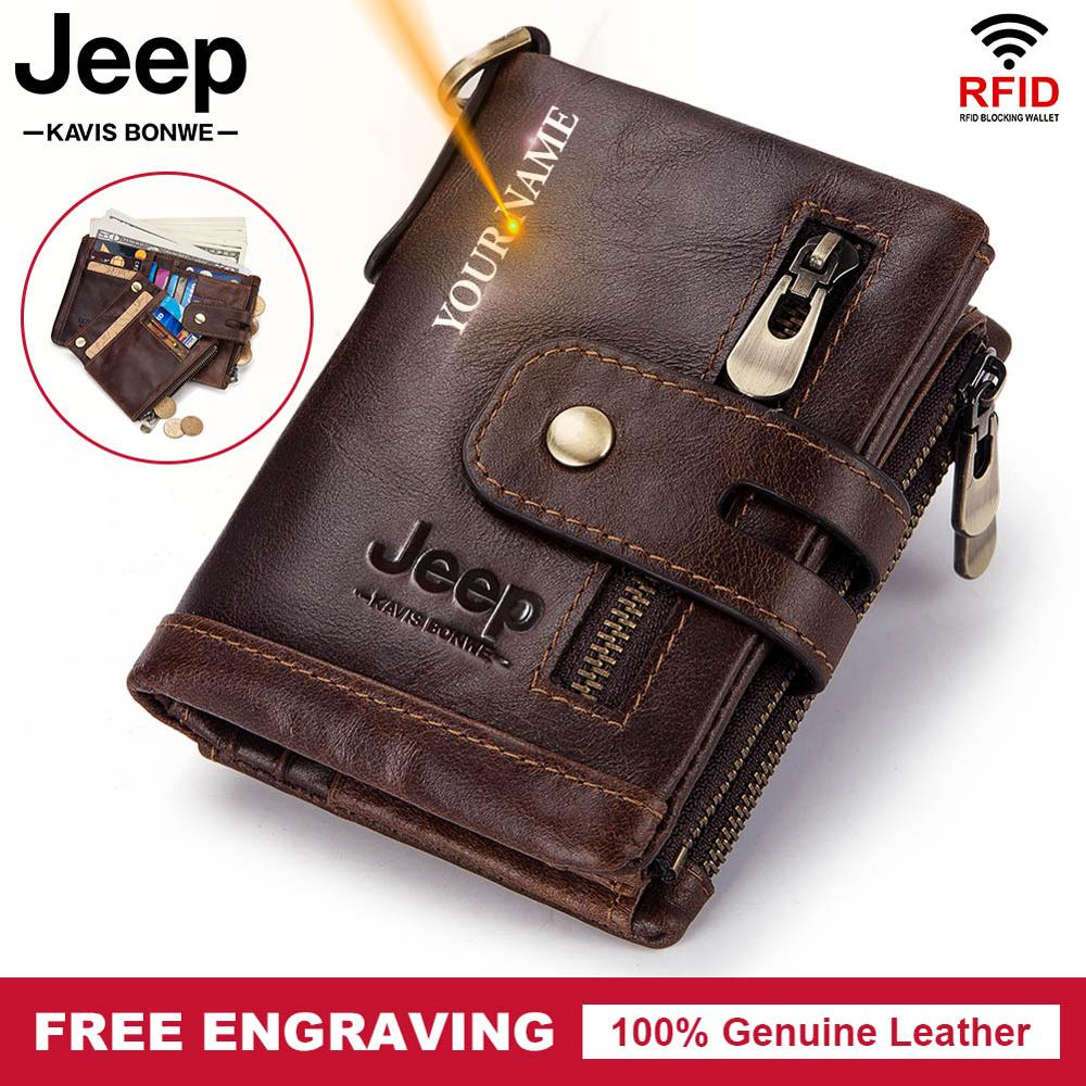 Free Engraving 100% Genuine Leather Men Wallet Coin Purse Small Mini Card Holder Chain PORTFOLIO Por