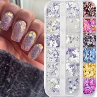 nail glitter flakes sequin 12 grids holographic mixed shimmer mirror powder glow manicure professtional nail art decoration