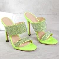 slippers women summer luxury 2021 new fashion rhinestone crystal sexy high heels zar a woman shoes on heels sandals plus size