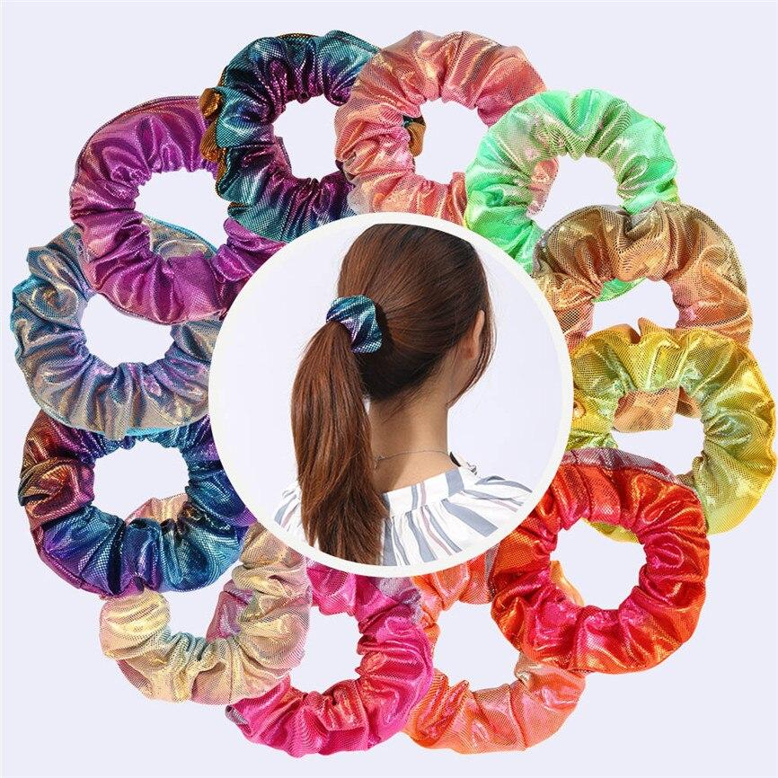 Multicolor Glitter colorido cuerda coleta titular pelo Navidad niñas Chiffon terciopelo Satén/raso pelo accesorios para el cabello 15