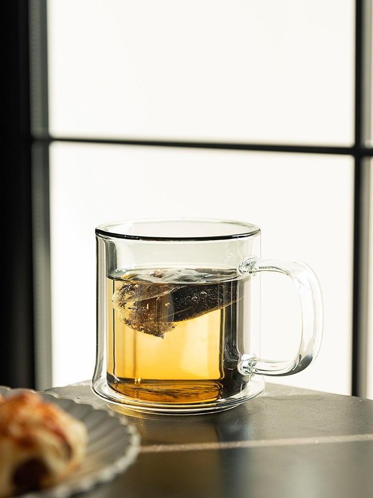 Color creativo taza de vidrio moderno Simple desayuno café taza de doble...