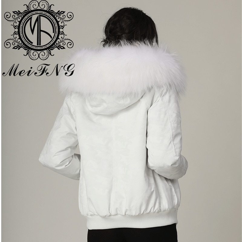 Creazy MeiFNG Style White Camouflage Bombers Women's Down Parka With Cream Color Fur Hood enlarge