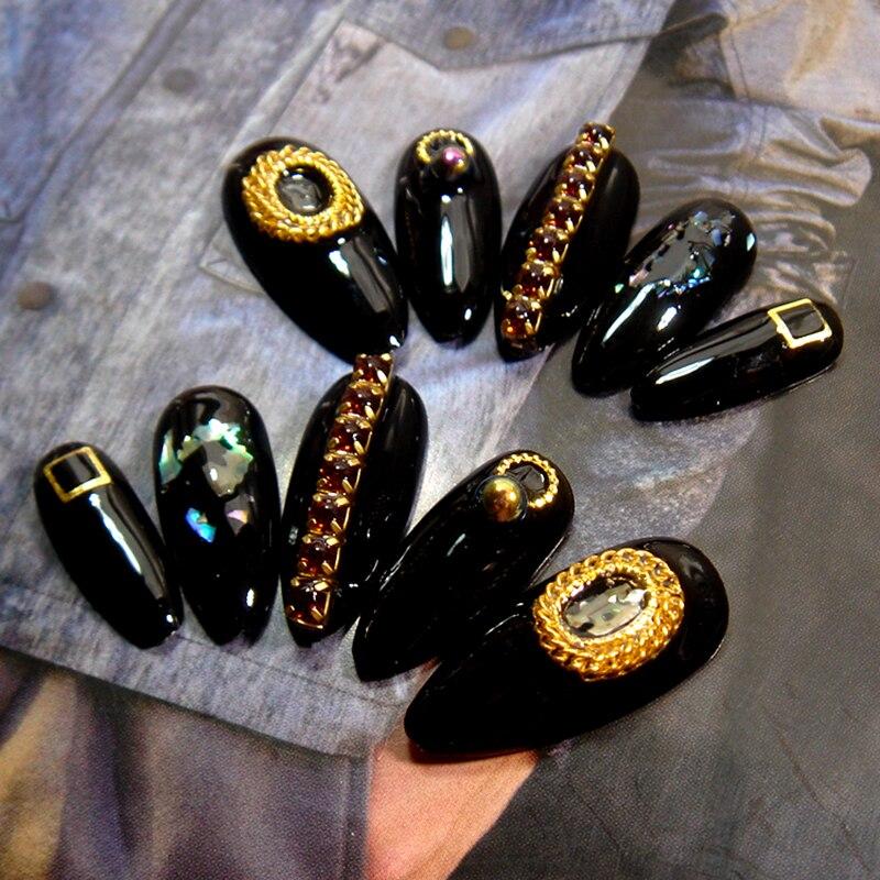 Uñas postizas de manicura avanzada DIY 3D uñas falsas brillantes puntas de arte Stiletto acrílico de manga larga Bling AB calcomanías de cristal