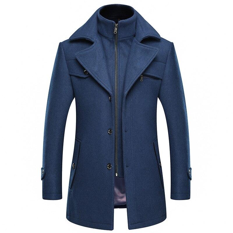 Abrigo rompevientos para hombre, abrigo grueso Extra largo de lana azul, abrigo de mezcla de lana para invierno, abrigo ajustado de talla grande, ropa informal de hombre, abrigo 4xl