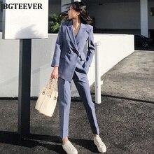 Mode Double boutonnage femmes pantalon costume cranté Blazer veste et taille haute pantalon femme Blazer ensemble 2019 tenue de bureau femmes costumes