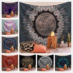 India Mandala Tapestry Wall Hanging Wall Tapestry Carpet Psychedelic Cloth Tapestries Boho Decoration Home Decor