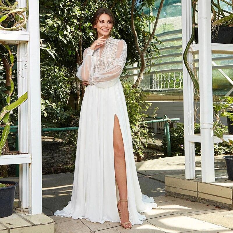 MoonlightShadow Bohemian Wedding Dresses A-Line High Neck Lantern Sleeves Chiffon Furcal Floor-length Bridal Gown Robe De Mariée