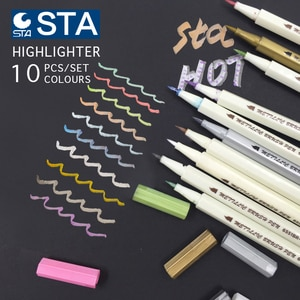 metal marker pen STA 10 colors  Set scrapbook crafts for DIY brush to make cards / round head Art pen to draw