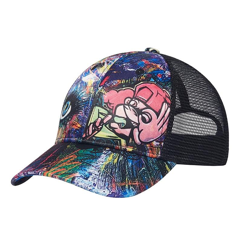 Кепка-бейсболка в стиле хип-хоп для мужчин и женщин, модная мультяшная бейсболка с граффити, с сеткой от солнца, летняя
