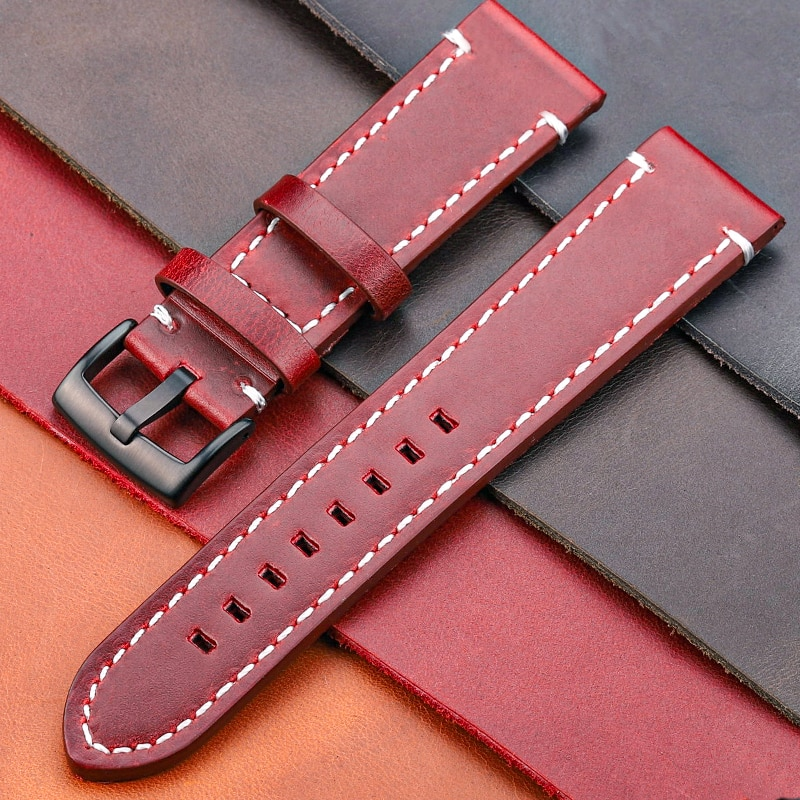 AliExpress - HENGRC Cowhide Strap 18mm 20mm 22mm 24mm Genuine Leather Watchband Manual Men Thick Brown Black Watch Band Belt Buckle