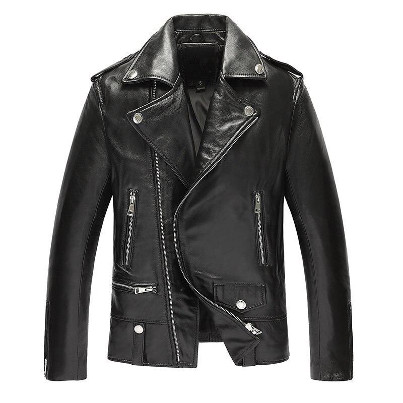 Genuine Leather Jacket Men Top Quality Sheepskin Leather Coat Spring Autumn Moocycle Plus Size Jacket 19-813 MF619