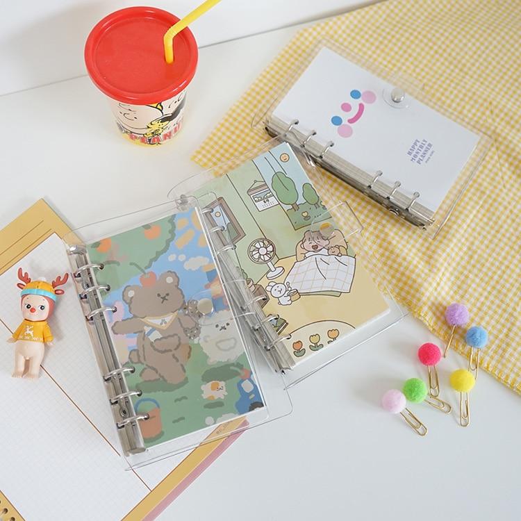 Criativo urso a6 caderno grid page capa de plástico espiral diário planejador papel nota livro categoria páginas papelaria