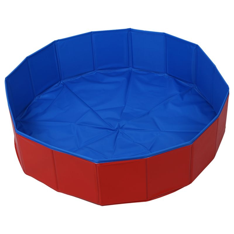 Cama plegable para perro mascota, cama de verano, piscina azul + rojo