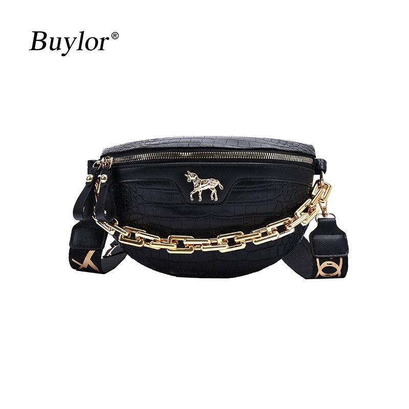 Buylor Waist Bag For Women Crocodile PU Leather Shoulder Bag Chain Handbag Fashion Travel Crossbody Chest Bag Phone Wallet Purse