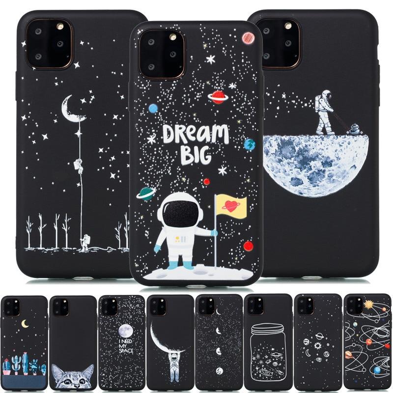Funda suave para iPhone 11 Pro astronauta para iPhone 11 8 7 6 6S Plus X XR XS funda trasera de silicona 11 pro Max espacio Luna planeta
