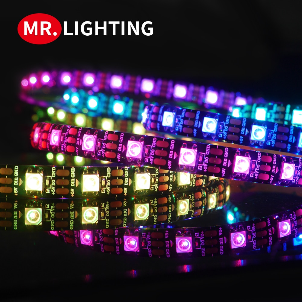 Светодиодная ленсветильник Smart pixel 1m/2m/3m/4m/5m WS2812B 30/60/144 пикселей/светодиод/м; WS2812 IC;IP30/IP65/IP67, светодиодная лента DC5V