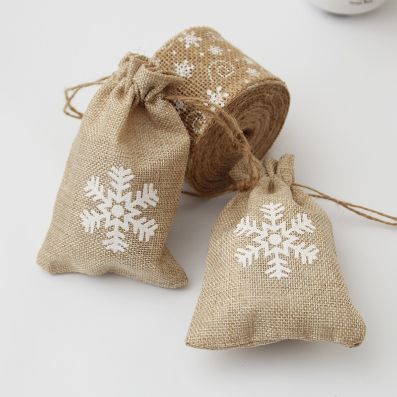 50 peças/lote saco de cordão de linho presente embalagem artesanato saco de armazenamento festa de casamento doces saco de linho sacola