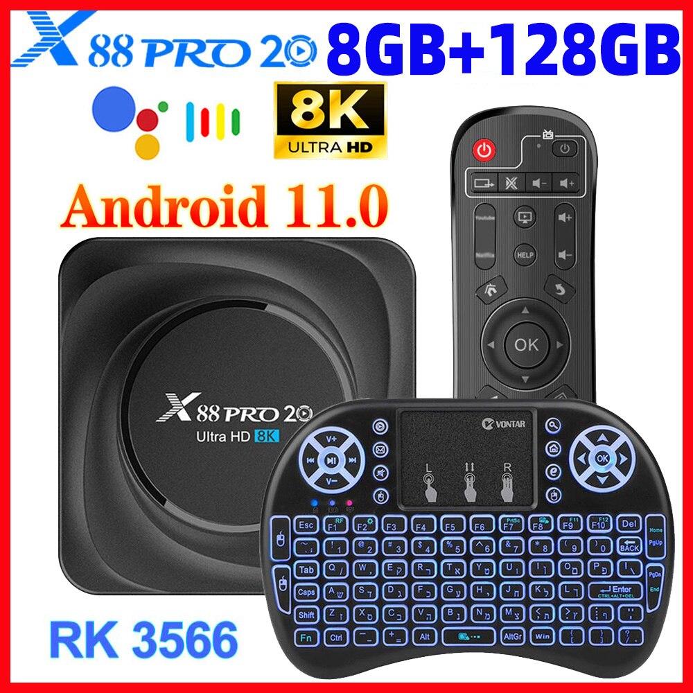 X88 Pro 20 RK3566 TV Box أندرويد 11 8GB RAM 128GB ROM دعم 8K 24fps 2.4G/5G WiFi 1000M Google Play Youtube X88pro 32GB 64GB