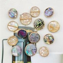 2 шт., цветные пуговицы для шитья, металлическая подошва, перламутровая оболочка, круглые/нерегулярные кнопки для одежды, аксессуары для Пальто DIY Пуговицы      АлиЭкспресс