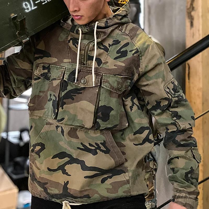 Камуфляжный пуловер в стиле милитари, худи в стиле хип-хоп, крутая уличная одежда, Тренч в стиле сафари со множеством карманов, худи милитари...