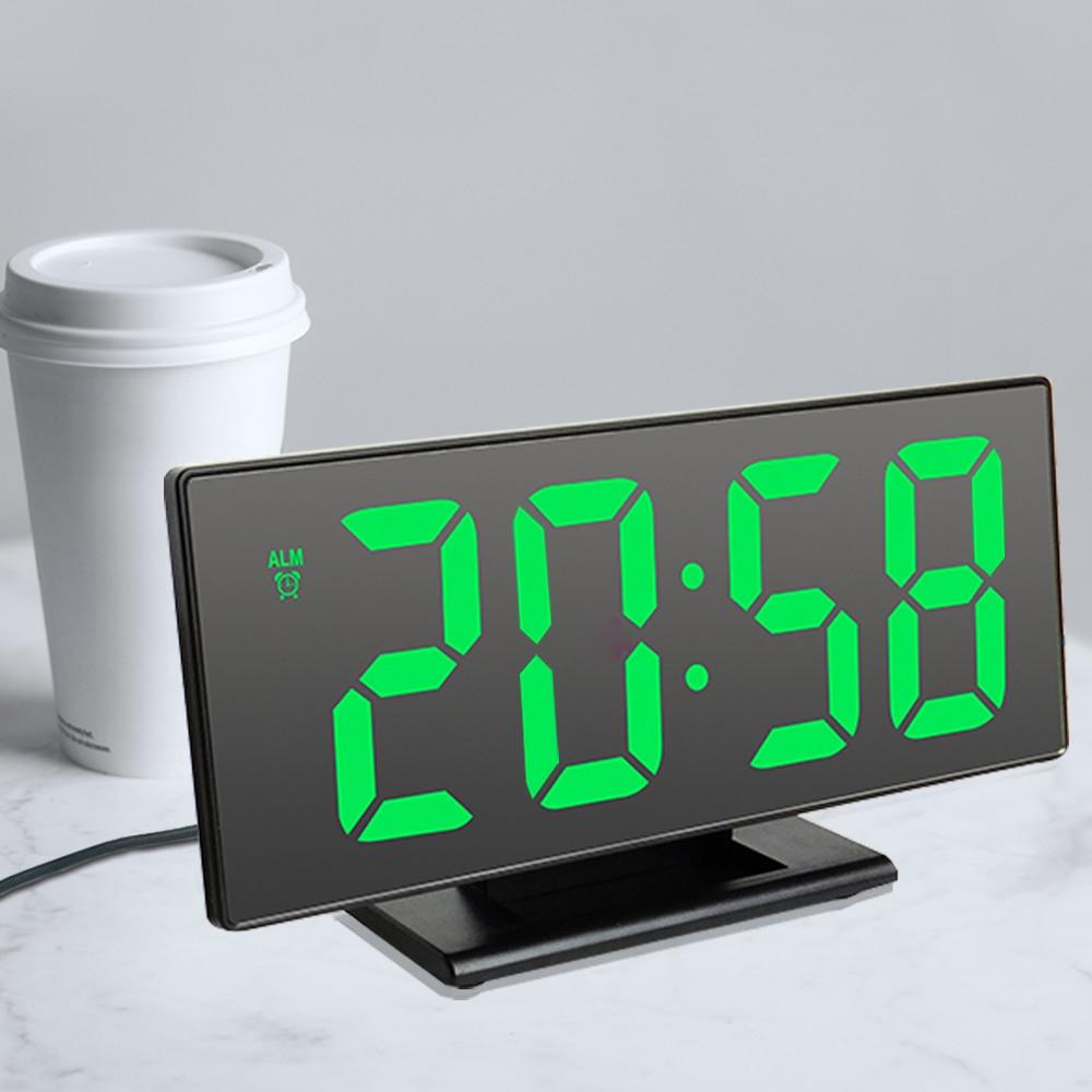 Цифровой светодиодный, светодиодные зеркальные электронные часы, большие часы с ЖК-дисплеем, бесшумные цифровые настольные часы с календар...