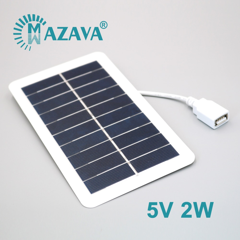 USB Solar Panel Outdoor 2W 5V Portable Solar Charger Pane Climbing Fast Charger Polysilicon Travel DIY Solar Charger Generator