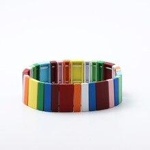 Fashion Colorful Painted Bracelet Rainbow Enamel Tile Bracelet Women Friendship Weave Charm Bracelet Unisex Jewelry Gifts