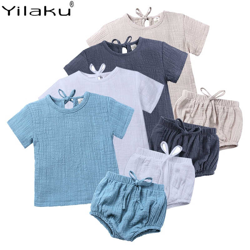 Yilaku, conjuntos de ropa de verano para bebés y niñas, conjuntos de ropa Casual de lino Unisex para bebés, camiseta + pantalones cortos de Pp, pantalones calientes para bebés YY021