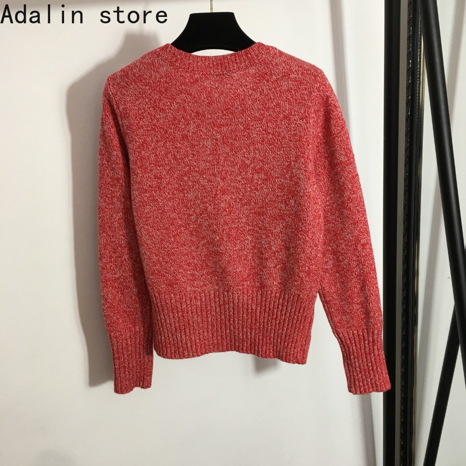 2021 high quality autumn fashion women's top love Embroidery Flower round neck Pullover long sleeve knitted sweater enlarge