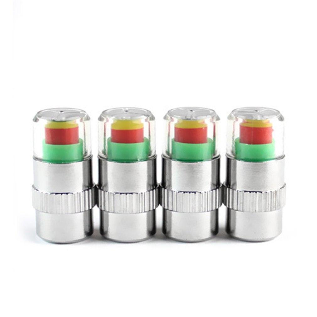 4Pcs 2,4 Bar 36PSI Air Warnung Alarm Reifen Ventil Kappen Druck Sensor Monitor Licht Kappe Anzeige für Autos Zubehör