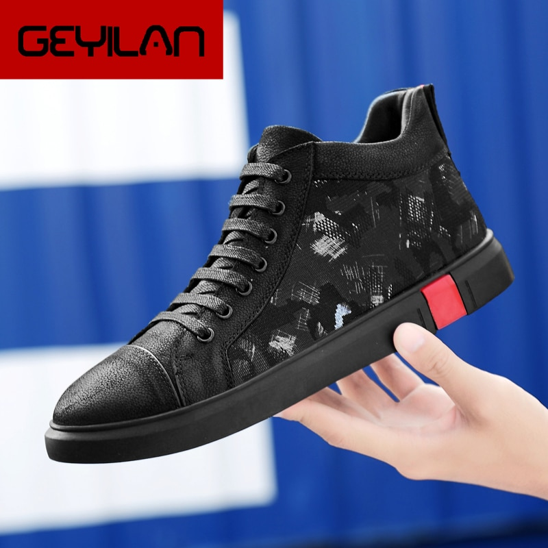 High-Top Men shoes leather fashion High Tops Male boots Luxury Brand mens casual sneakers lace up Fl