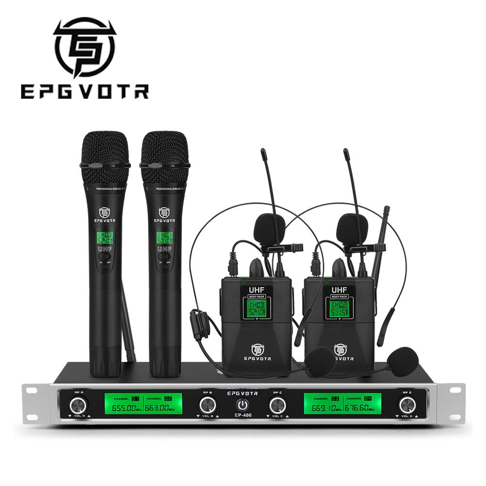 EPGVOTR 4 قناة UHF ميكروفون لاسلكي نظام EP-400 مع مع 2 Bodypack و 2 يده ميكروفون للمرحلة الكنيسة حزب DJ