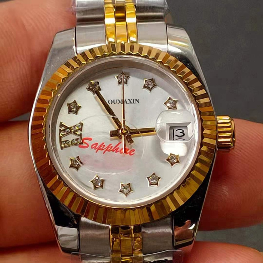 26.5mm Ladies Watch Automatic Mechanical Sapphire 316L Stainless Steel White Dial Ladies Clock