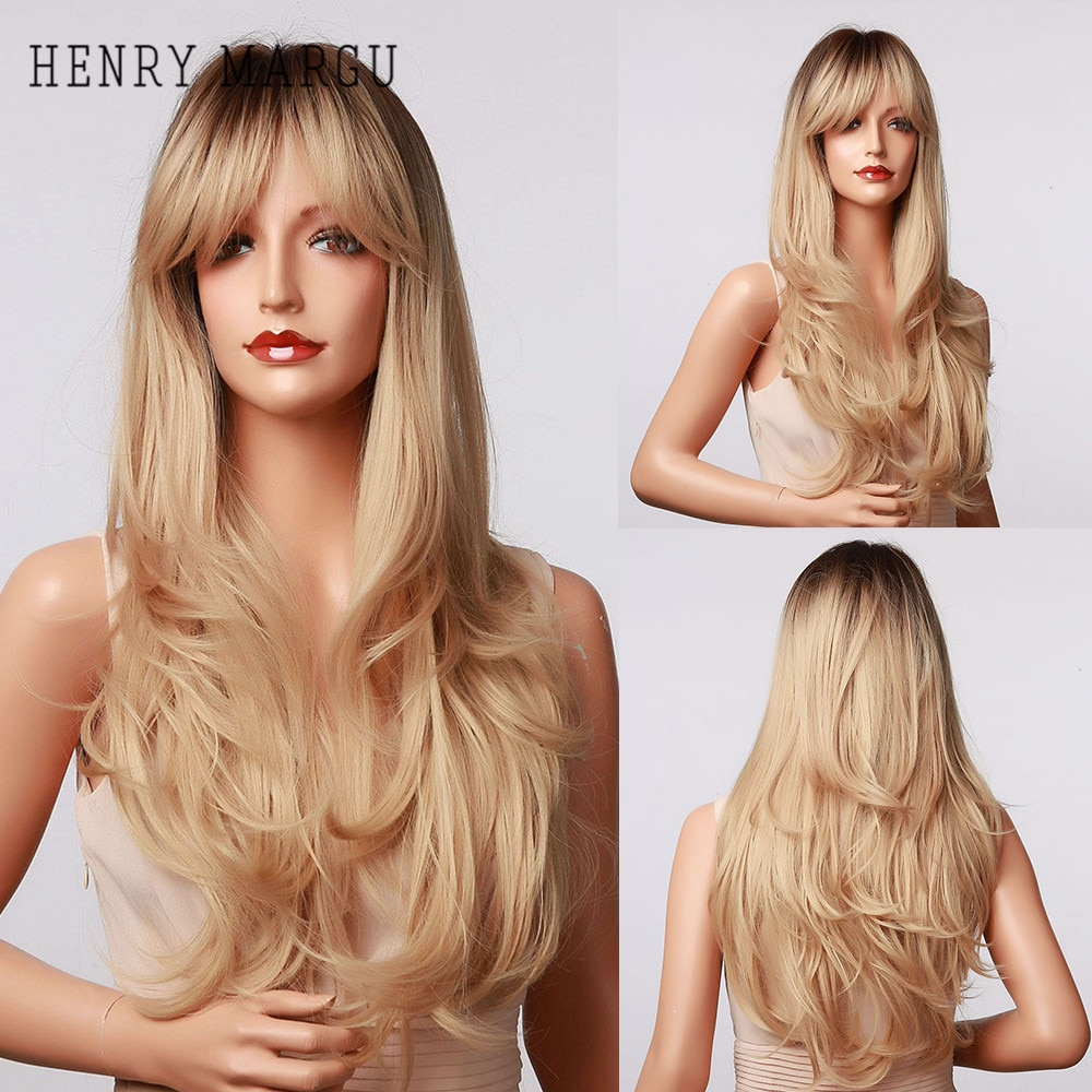 HENRY MARGU Long Wavy Blonde Blown Ombre Synthetic Wigs With Bangs Natural Daily Hair Wig for Women Cosplay Heat Resistant Wigs