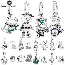 2 Pcs / Lot Punk Bella Dinosaur Band Charms Beads Fit Original Pandora Charm Bracelets Necklaces For Woman DIY Making