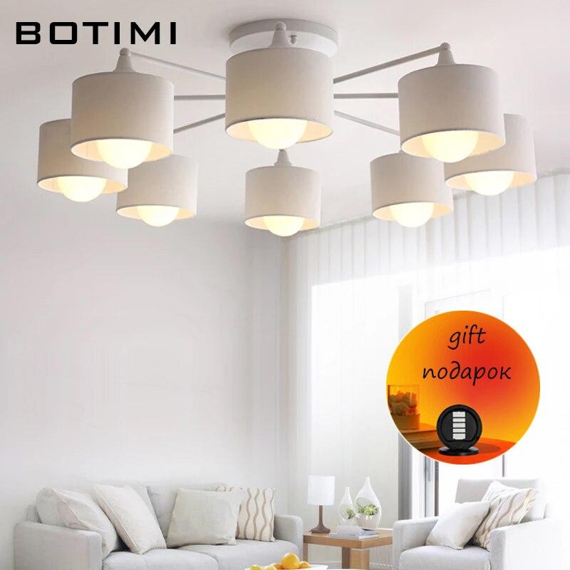 BOTIMI اليابانية أضواء السقف مع القماش أباجورة ل بهو الأبيض lamvillage دي تيكو سطح شنت إضاءة غرفة النوم