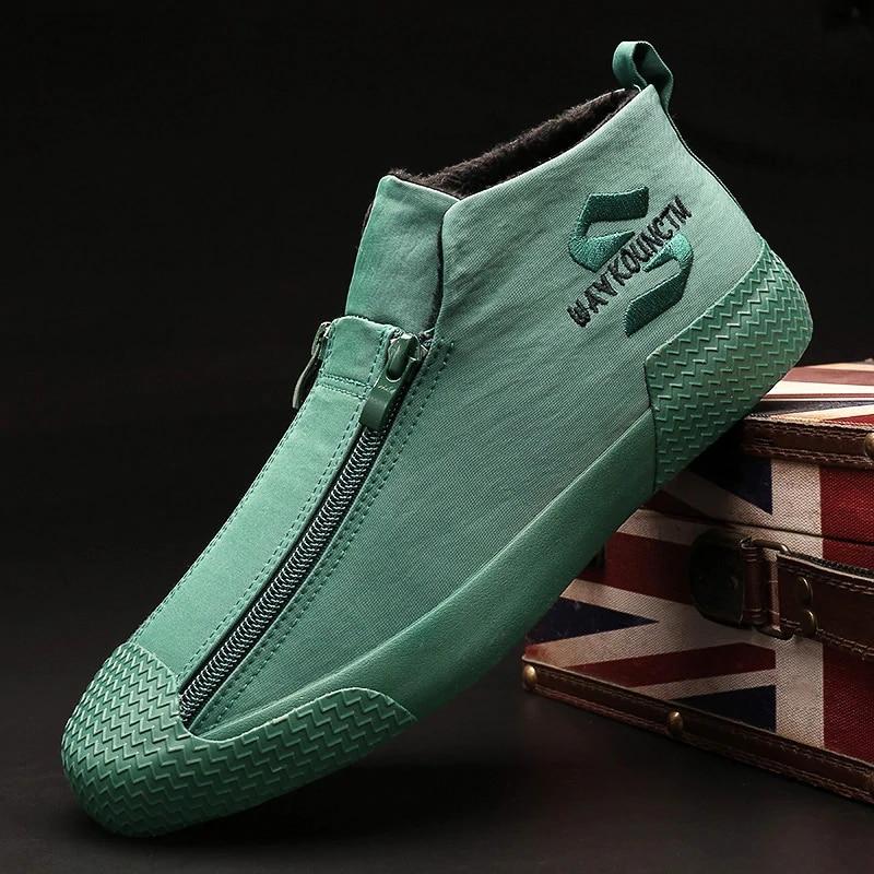 الدافئة الشتاء الثلوج الأحذية أزياء سستة مع الفراء أحذية المطاط الذكور الشقق Zapatillas هومبر الرجال عارضة حذاء رياضة A21-97