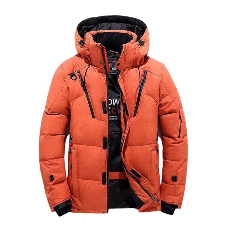 Белая куртка на утином пуху, Мужская парка на молнии, Утепленные зимние пальто с капюшоном, теплые ветровки, мужская верхняя одежда, Анорак р...