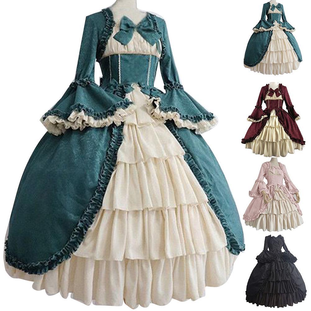 Medieval Retro Gothiced Court Dress Royal Lady Ball Dress Square Neck Tight Waist Bowknot Women Elegant Costume vestido ropa muj