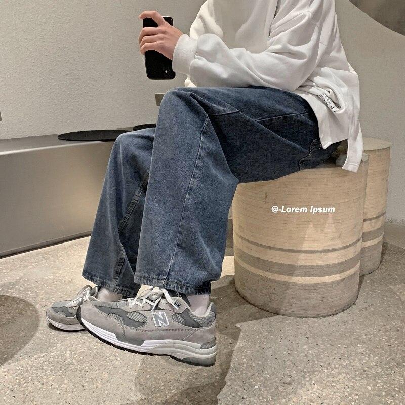 Мужские прямые джинсы в стиле Харадзюку, свободные вышитые джинсы со средней талией, в Корейском стиле, лето 2021