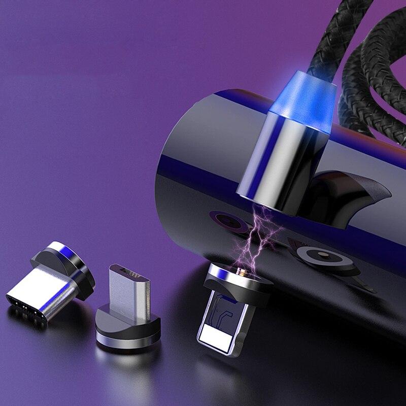 Cable magnético USB tipo C, Cable de carga Micro USB para iPhone Samsung Huawei, Cable de carga rápida con imán para teléfono móvil