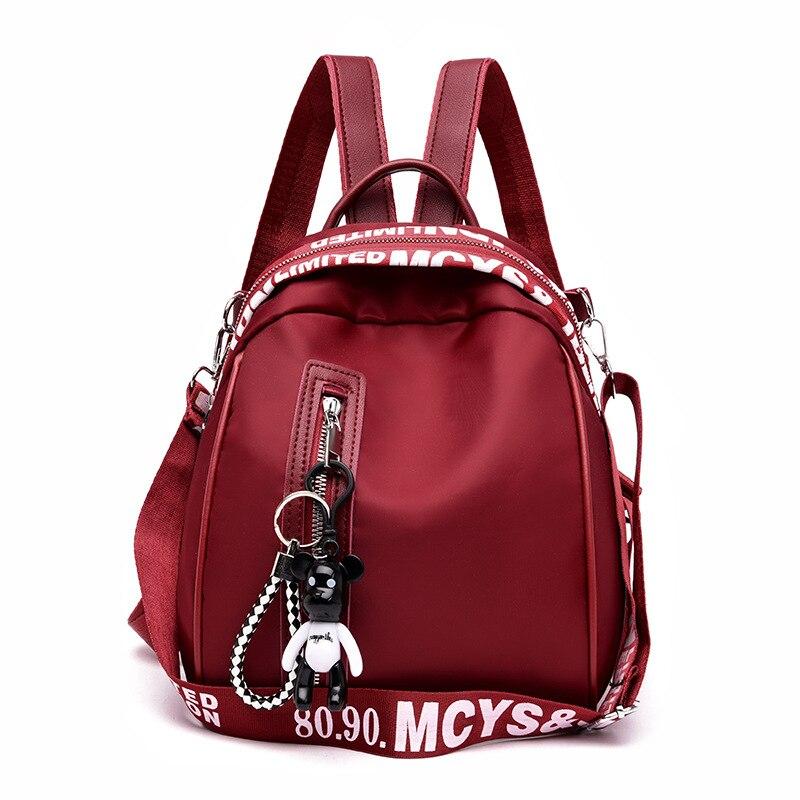 Women's fashion backpack solid color Oxford cloth college wind school bag travel trend shoulder bag