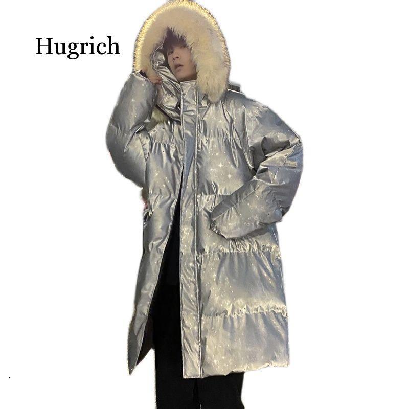 Блестящее длинное мужское теплое модное повседневное пальто с меховым воротником и капюшоном парка мужское корейское пальто оверсайз зимн...