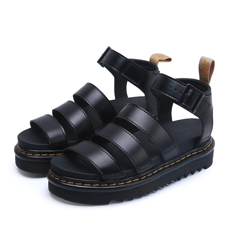 2021 جديد الصيف مارتنز النساء أحذية ل مريح لينة النساء الصنادل سميكة صنادل سيدات جلد طبيعي الصنادل 35-44